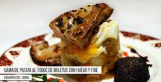 Propuesta de Asador Ecus para la Ruta Dorada de la Trufa: Crema de patata al toque de Boletus, con huevo trufado y foie #Soria #Trufa #Trufanegra