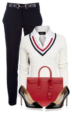 Untitled #1142 by unagii on Polyvore featuring мода, GANT, Dsquared2, Gucci, Jimmy Choo, Yves Saint Laurent, women's clothing, women's fashion, women and female