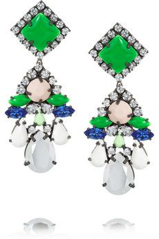 Shourouk Square silver-plated Swarovski crystal earrings | NET-A-PORTER