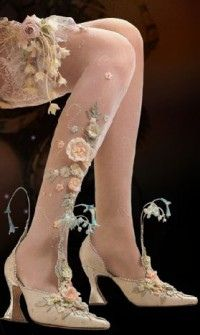 for a fairy or enchanted costume; you can sew flowers on nude hoseiry........Basia fairy shoes