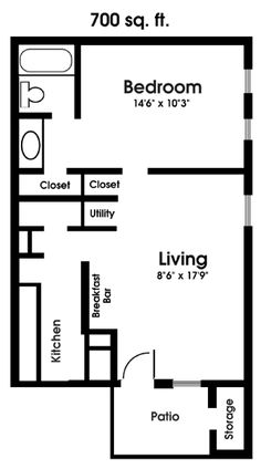 Apartment Floor Plans One Bedroom 14x30 tiny house -- #14x30h1a -- 419 sq ft - excellent floor plans