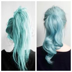 I love the left's color more :D More of a teal I guess?  I kinda want to dye my hair this color.