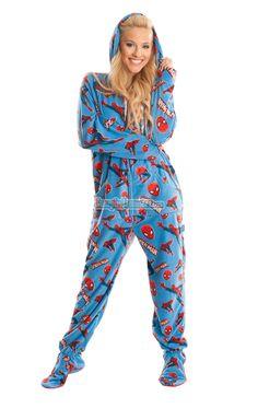 Spiderman - Marvel Comics - Pajamas Footie PJs Onesies One Piece Adult Pajamas … Super Hero Outfits, Cool Outfits, Adult Onesie Pajamas, Geek Chic, Looks Cool, I Dress, Lounge Wear, Onesies, One Piece