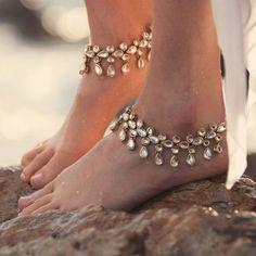 GOLD TONE KUNDAN foot lace ANKLET PAIR PAYAL feet bracelet Bridal DESIGNER STYLE #EthnicIndia