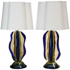 Pair of Sculptural Murano Lamps Attributed to Luciano Gaspari for Salviati | From a unique collection of antique and modern table lamps at https://www.1stdibs.com/furniture/lighting/table-lamps/