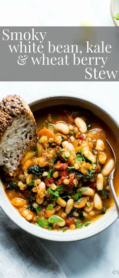 Hearty, cozy and so nourishing! Smoky White Bean, Kale and Wheat Berry Stew! #vegetarianrecipes #Healthyrecipes #Stew #veganrecipes