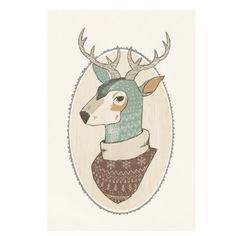 Oh Deer 5x7 illustration art print , deer in ugly sweater, antlers, teal, illustrated deer bust, reproduction print, winter. $15.00, via Etsy.