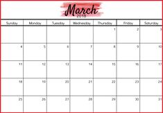 March 2018 Personalized Calendar Template