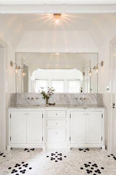 A Jessica HelgersonTudor Bathroom (interesting tile floor pattern!) - desiretoinspire.net