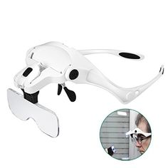 Great Rightwell Hands Free Headset Magnifier Glass With Light Lightweight Magnifying