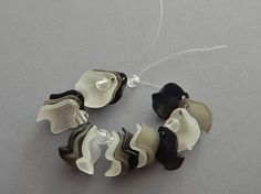 18 Pc Abstract Rose Petals Beads Charms Frosted Acrylic Black White Grey Focal Jewelry