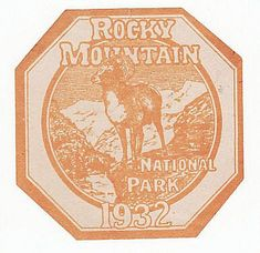 1932 Rocky Mountain National Park Auto Window Sticker Permit Pass