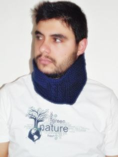 Mens neckwarmer cabled pattern cowl scarf by smilingpoet on Etsy, $25.90
