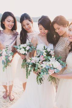 Bridesmaids in rose