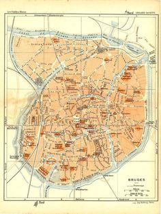 1930 Bruges City Plan Street Map Belgium at CarambasVintage http://etsy.me/13k2jRS
