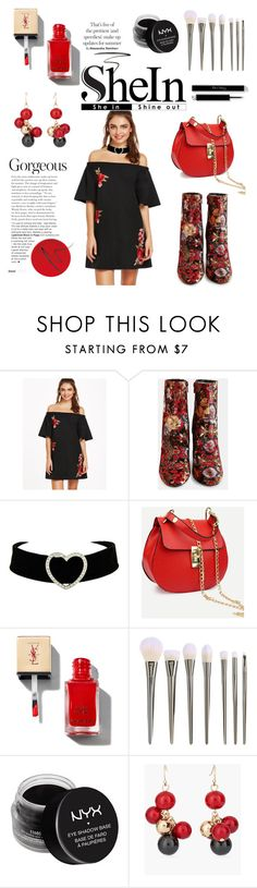 """SheIn Black Embroidered-Flower-Applique-Bell-Sleeve-Off-The-Shoulder-Dress"" by tarparamu ❤ liked on Polyvore featuring NYX, Chico's and Eyeko"