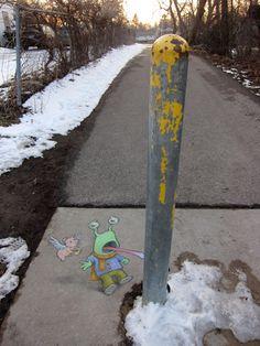 Sluggo chalk street art by David Zinn. Double, triple, dog dare...