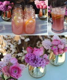 Using bouquets with a pretty color coordinated beverage will make a client happy or if you are planning an event yourself ,save money. For every flower there is a fabulous cocktail to match!