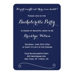 Custom Round Navy Blue Bachelorette Party Invites   Zazzle