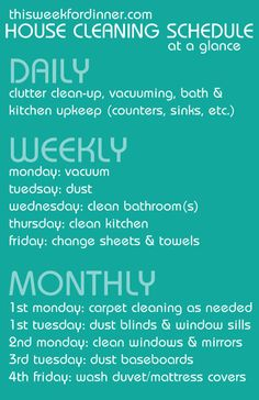 weekly house cleaning schedule including free printable with 4-week plan