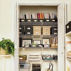 Office closet - Wire racks to store boxes and magazine racks