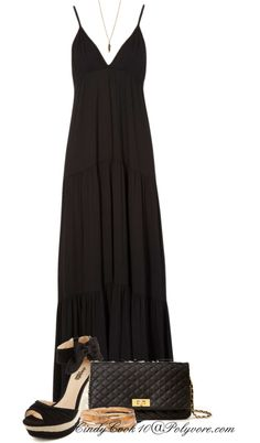 """""""Simple Black Maxi Dress"""" by cindycook10 on Polyvore"""