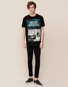 Pull&Bear - homme - t-shirts - t-shirt imprimé - noir - 09242537-I2015