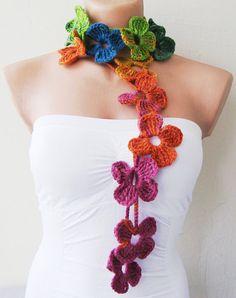 Flor bufanda ganchillo de la mano lariat bufanda por SeaAsparagus