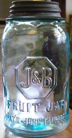 Odd PATENTED 1898 Octagon Shoulder Ground Lip Finished Antique J & B FRUIT JAR