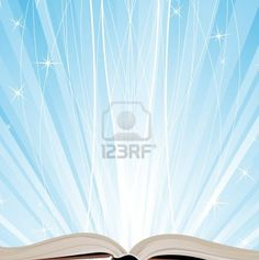 Open book on a blue sparkling background
