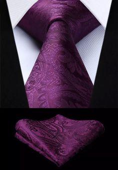 Men's Silk Coordinated Tie Set - Solid Paisley Purple – Uylee's Boutique
