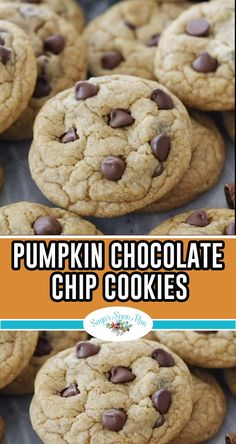 This recipe makes soft, chewy (not cakey!) pumpkin flavored cookies that are a perfect fall recipe! These would be great for Thanksgiving, too! Keto Cookies, Vegan Pumpkin Cookies, Pumpkin Chocolate Chip Cookies, Chocolate Chip Recipes, Cookies Et Biscuits, Healthy Chocolate, Pumpkin Recipes, Fall Recipes, Fall Cookie Recipes