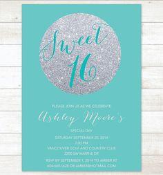 tiffany blue silver sweet 16 birthday invitation, sweet sixteen invitation, silver glitter invitation digital invite customizable