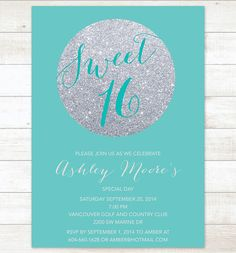 tiffany blue silver sweet 16 birthday invitation, sweet sixteen invitation, silver glitter invitation digital invite customizable