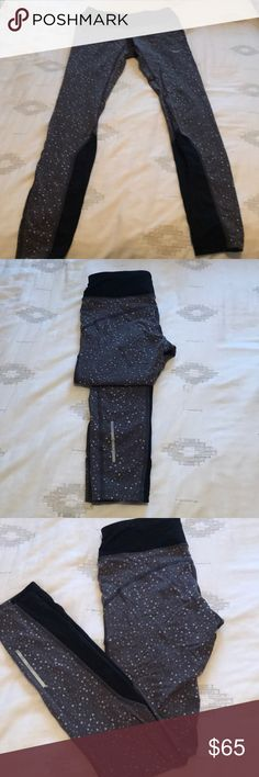 Nike Dri Fit Leggings Full length Nike Dri Fit leggings. Grey/Black triangle design. Has hidden pocket on waist in back. Super cute and crazy comfortable.  Perfect for lounging around in, running errands and of course working out.   The butt has a super flatting seam towards the top that angles around your booty.   Adjustable drawstrings on the inside as well for an even better fit.  Purchased from Nike for $125, worm 5 or so times and no signs of wear, perfect condition. Nike Pants Leggings