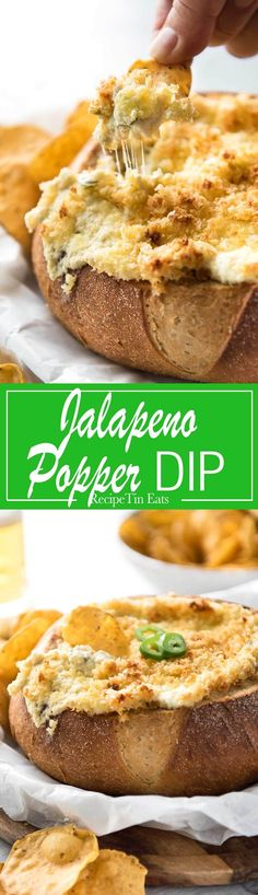 It's a Jalapeño Popper - in dip form! A warm creamy dip spiked with jalapeño, topped with a crunchy panko topping!