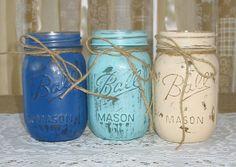 Mason Jars Painted Mason Jars Rustic by TheShabbyChicWedding