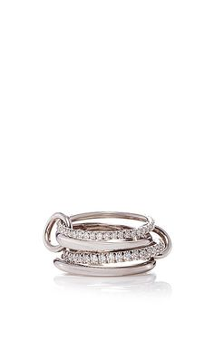 18 K White Gold Polaris Grits Four Linked Ring by SPINELLI KILCOLLIN for Preorder on Moda Operandi