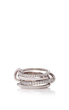 18 K White Gold Polaris Grits Four Linked Ring by SPINELLI KILCOLLIN for Preorder on Moda Operandi