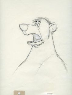 """An original Disney Studio production drawing of Baloo from """"The Jungle Book"""" (1967).   An extremely large image, with notation """"Village"""" at top.  Baloo drawings are uncommon!  Measures approx. 12.5"""" x 15.5"""".  Scan may not show entire sheet; sheet is complete including registration holes."""