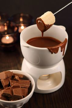 Recipe for a Romantic Camping Trip.  Chocolate Fondue and Dippables. Nice!