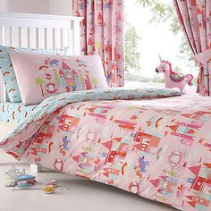 bluezoo Kids' pink 'Castle and Unicorns' duvet cover and pillow case set | Debenhams