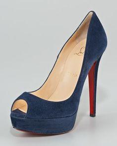 Christian Louboutin Banana Suede Platform Pump  Neiman Marcus Design works No.705 |2013 Fashion High Heels|