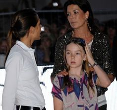 (L-R) Charlotte Casiraghi with her mother Princess Caroline of Hanover and her youngest sister Princess Alexandra of Hanover during her horses racing event in Monaco