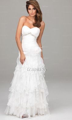 A-Line  Sheath/Column Strapless  Sweetheart Chiffon Prom Dress