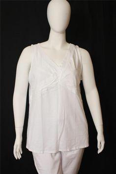 New Lane Bryant White V-neck Sleeveless Front Knot Top Size 18/20