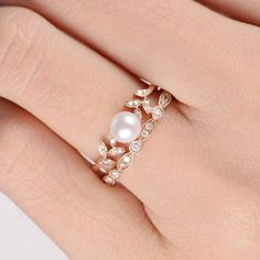 Pearl Rose Gold Engagement Ring Set Flower Bridal Ring Diamond Leave Unique Vine Art Deco Antique Anniversary Promise Gift Women Akoya 2pcs ITEM INFORMATION: * Engagement Ring Metal Type: Solid 14K Rose Gold Band Width: 1.3mm Size: US3-10 Center Stone: Natural Pearl Diameter: 5mm