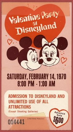 Valentine Party at Disneyland. to get into Disneyland. Only exception, no entry to the shooting galleries. Disneyland had shooting galleries! Retro Disney, Disney Love, Disney Magic, Disney Mickey, Disney Parks, Walt Disney, Mickey Mouse, Disney Stuff, Disneyland Tickets