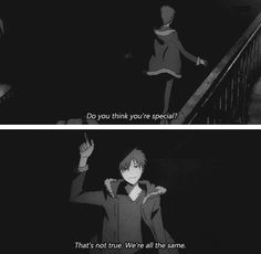"Izaya:""We´re all the same."" - Durarara Izaya is secretly a feminist :D Izaya Orihara, Shizaya, Durarara, Anime Drawing Styles, Manga Quotes, Anime Qoutes, Story Arc, Dark Places, Manga Games"