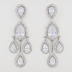 *CZ Bridal Chandelier Earrings | Teardrop Chandelier Earrings, Harry Winston Imitation